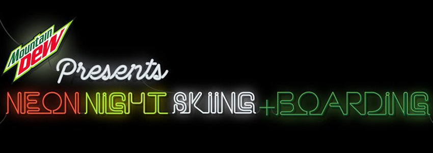 Neon night skiing boarding landingpage