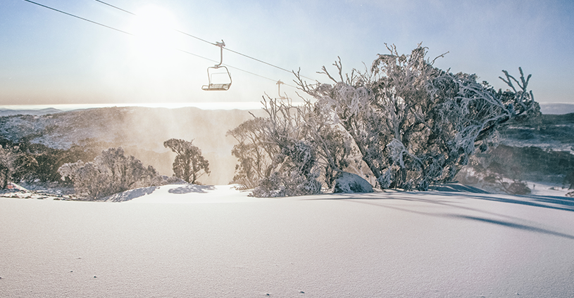 Happy Valley Sunrise snowing perisher